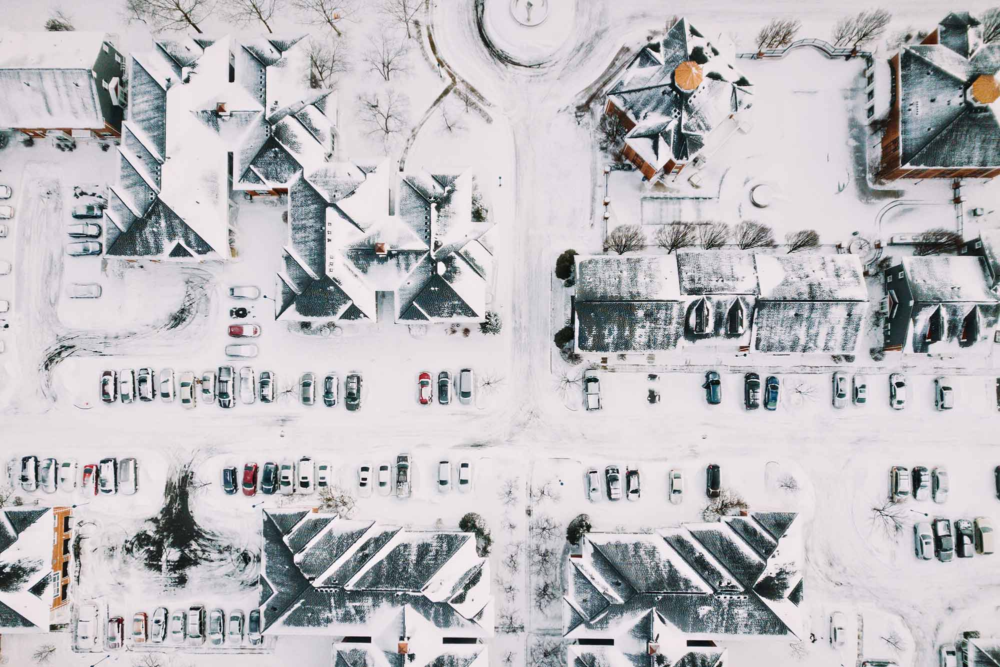 Drone Photography picture of snowy houses