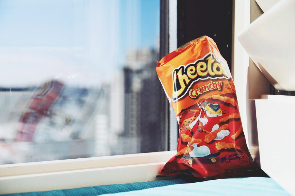 cheetos by a window